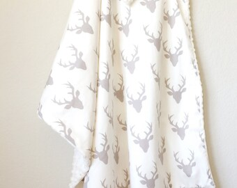 Oh Deer! Grey - Baby Boy Minky Blanket - Stroller Blanket - woodland stag antlers gray ivory Embroidered Personalized
