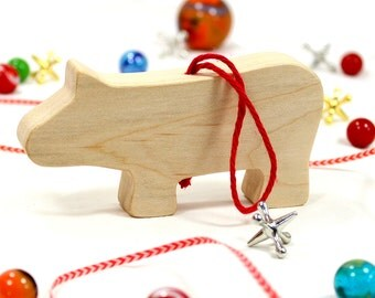 Wooden Hippo Ornament, Christmas Ornament