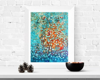 Giclee Print - Come Inside - Print of Original Abstract Painting Red, Turquoise, Orange, Gold, Yellow by Louise Mead