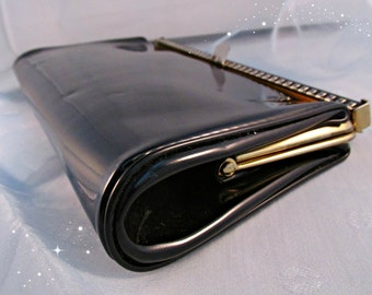 Mid Century Black Patent Leather Clutch Bag Purse Handbag Womens Accessory