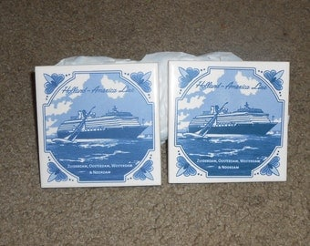 Holland America Line Set of 2 Delft Tiles Ship Trivet Cork Backing Nautical Zuidendam, Oosterdam, Westerdam & Noordam