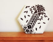 Hexagon Wall Art / Table Mat / Pot holder - Black and White