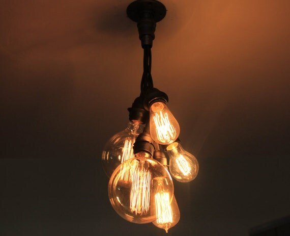 Industrial chandelier ceiling light edison bulb cluster - Diy ceiling lamps ...