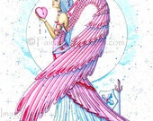 Pink Warrior Breast Cancer Angel Fairy Fantasy Art Print by Charity Dauenhauer