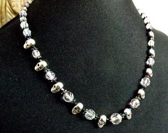 Crystal Skull Necklace, Day of the Dead, Elegant, Silver Skulls, Swarovski crystals, Sterling Silver Clasp, Dia de los Muertos