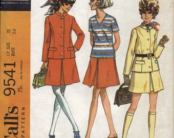 1960s Womens Suit Sewing Pattern, Single Breasted Princess Seam Long Sleeve Jacket,V Neck Blouse, Inverted Pleat Skirt, Size 11, Bust 34