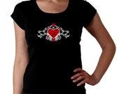 Tribal Heart - pick rhinestone color - RHINESTONE t-shirt tank top sweatshirt S M L XL 2XL