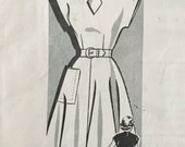 "Vintage 1940s 50s Misses' Sue Burnett Mail Order Dress Pattern 8473 Size 15 (33"" Bust)"