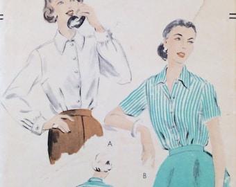 """Vintage 1953 Vogue Misses' Blouse Pattern 7519 Size 16 (34"""" Bust)"""
