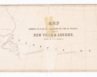 Fantastic Print of New York to London Steam Passage Map from 1850