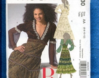 McCall's 5230 Gypsy Boho Chic Tiered Skirt Dress Size 6 to 12 UNCUT