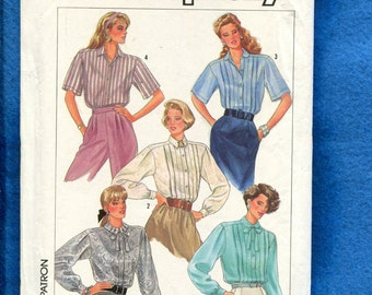 1980's Simplicity 7854 Classic Blouses with Bodice Tucks Size 14 UNCUT