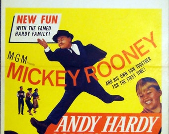 """Andy Hardy Comes Home.1958 Original 14""""x22"""" US Movie Poster.Hardy Family Movie with Mickey Rooney,Patricia Breslin,Fay Holden,Cecilia Parker"""
