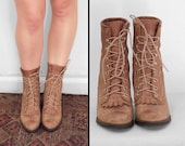 CAPEZIO Prarie Boots Size 5 to 6 Brogue Combat Kilty Roper Toasted Marshmallow Brown