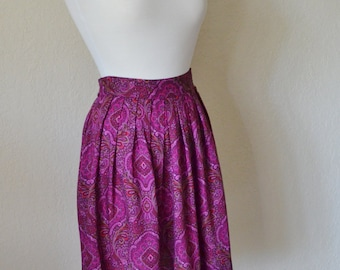 Vintage Pink Paisley Flirty Floral Spring Short Skirt Size Small 4P 90s Fashion