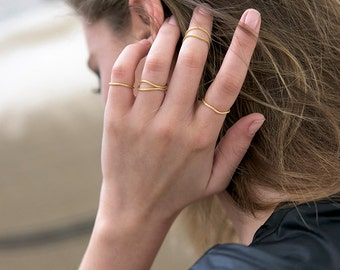 Gold stacking ring, Set of rings, Goldfilled ring, Trendy ring, Stacking ring, Knuckle ring, Dainty ring, Fashion ring, Midi ring, Stackable