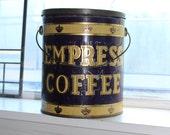 Antique Empress Coffee Tin 5 Lb Farmhouse Decor