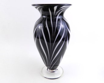 Black and White Hand Blown Glass Vase