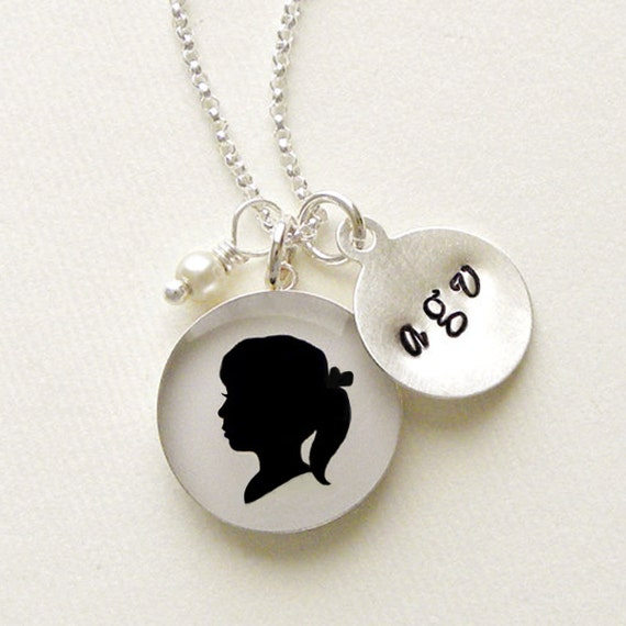 Mother's Day Large Sterling Personalized Child or Pet Silhouette Pendant & Stamped Initial Charm Necklace