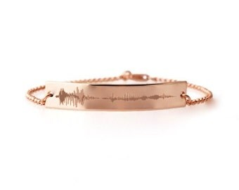 Your Actual voice sound waveform bar ID nameplate bracelet in Sterling silver, 14k rose or yellow gold fill | I love you | EKG ECG heartbeat