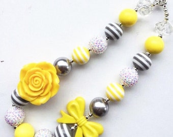 little girl chunky bead necklace yellow grey gray bubble gum chunky baby necklace big girl necklace big bead necklace