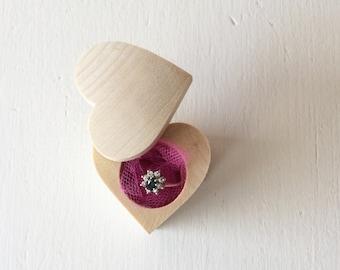 Wood Ring Box / Heart Shape Box / Engagement Ring Box / Ring Pillow Alternative