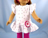 Doll Clothing fits American Girl - Knit Top, Leggings and Headband - 18 Inch Doll Clothes - Rosebud Print