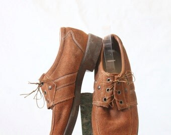 Suede Lace Ups/ 9 /1970's