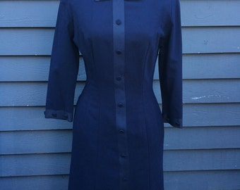 1960's dress . navy wool wiggle dress . schoolteacher . peter pan collar Wednesday Adams