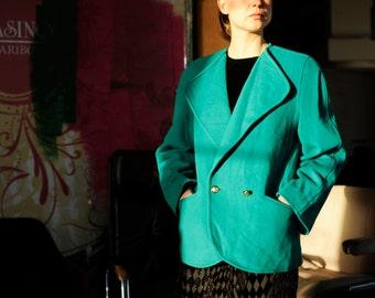 Vintage Teal Green Wool Blazer Jacket