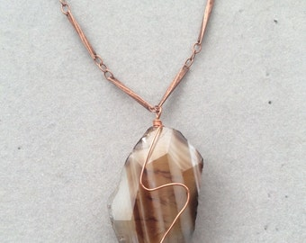 Faceted Agate and Copper Necklace