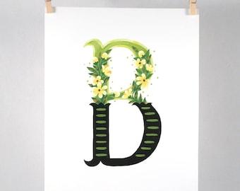 Floral Alphabet - B - Art Print of Original Gouache Painting