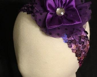 Purple Flower Sequence Headband