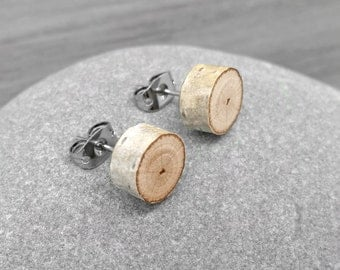 Natural Birch Wood Stud Earrings - Wood Slice Post Earrings - Birch Bark Earrings with Surgical Steel