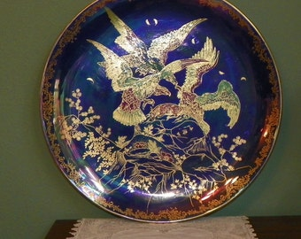 Antique Devon Lustrine Fieldings CHARGER Plate german germany Bold Gold Luster Eagles and Prey  Porcelain Stoke Trent England