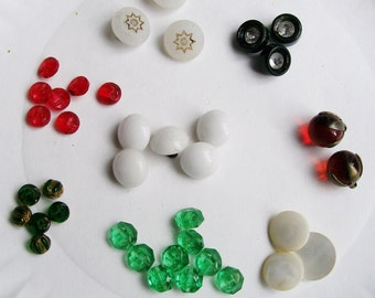 Vintage / Antique 38 pc GLASS BUTTON LOT Red Milk glass Rhinestone Green Amber Acrylic Shell Mixed Media Art Craft Sewing Clothing