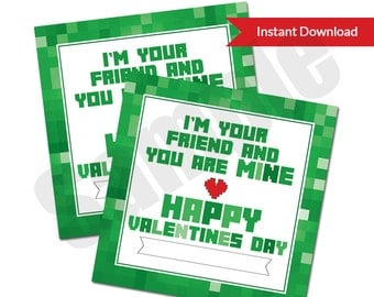 Mine Game Green Video Game Pixel Art Valentine's Day Classroom Exchange Card or Favor Tag Editable PDF Printable