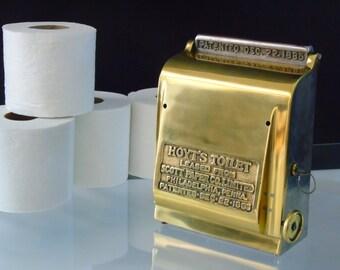 Antique 1885 Toilet Paper Holder Industrial Dispenser Brass Cast Iron Scott Toilet Paper Co Wall Mount Bathroom Fixture