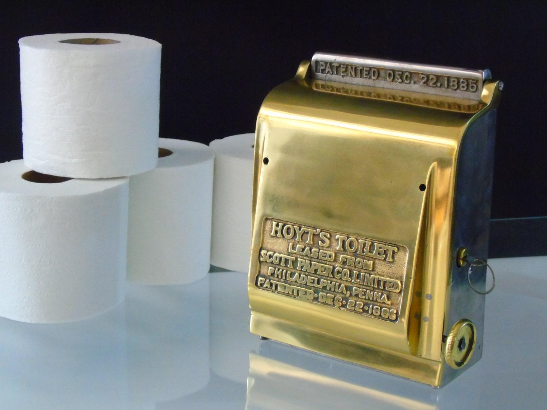 Bathroom Fixtures Toilet Paper Holder antique 1885 toilet paper holder industrial dispenser brass