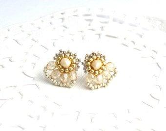 Bridal stud earrings, Champagne crystal earring, formal earrings, fan earrings, stud earrings gold, white earrings, beaded earrings