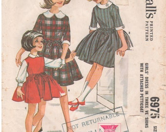 1963 - McCalls 6975 Vintage Sewing Pattern Girl Size 12 Helen Lee Dress Attached Petticoat Peter Pan Collar Gored Gathered Skirt Back Button