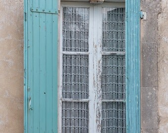 France Photo - Aqua Shutters, Provence Window, French Home Decor, Large Wall Art, France Art Print, Travel Photography, Architecture