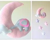 Baby mobile - baby mobile elephant - moon mobile - pink mobile  - baby girl mobile - elephant mobile
