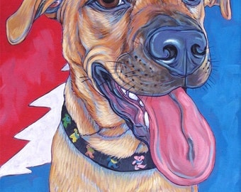 """11"""" x 14"""" Custom Pet Portrait Painting in Acrylic on Canvas of One Dog, Cat, or Other Animal Ready to hang no framing needed dog lover gift."""