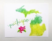 Green Michigan art print watercolor state map