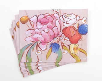 Floral notecard set painted flower boxed card set of 6