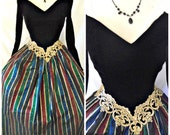 Vtg Jessica McClintock Black Velvet Dress Striped Taffeta Tea Length Victorian Holiday Prom Formal Gown Sz 3 4 5 6 XS Small