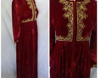 Vtg '60s Red Velvet Hostess Dress Gold Rope Trim Medieval Full Length Maxi Dress Caftan Style Formal Holiday Gown Feiner Fashions Size 12