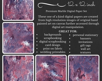 Purple Marble Premium Digital Paper Pack Purple Pink White Maroon Printable Digital Paper Download Scrapbooking Paper Abstract Design PMEV16