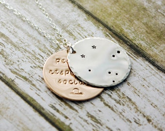 Libra zodiac constellation necklace with traits. Silver and gold Libra astrology necklace. LIbra constellation. Libra birthday gift.